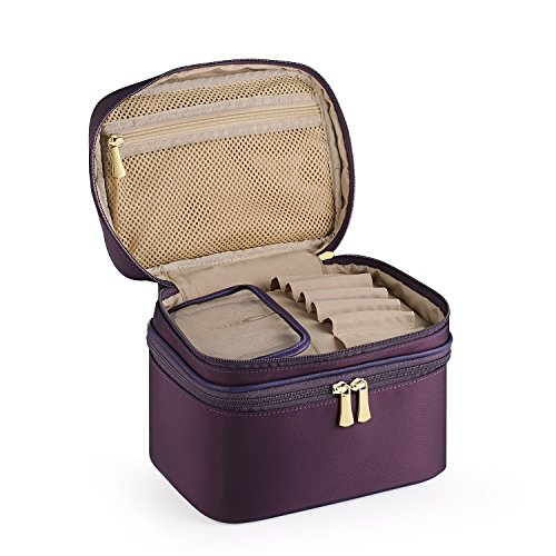 - CHICECO Travel Makeup Train Case Toiletry Bag Cosmetic Bag - Double Layer (Small, 1 Dark purple)