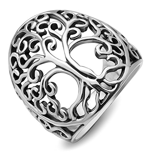 Chuvora 925 Sterling Silver Detailed Large Open Filigree Tree of Life Ring for Women with Gift Box