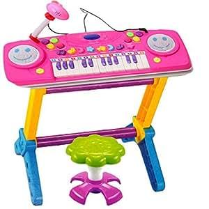 Amazon Com Pink Large 44 Key Electronic Piano Keyboard
