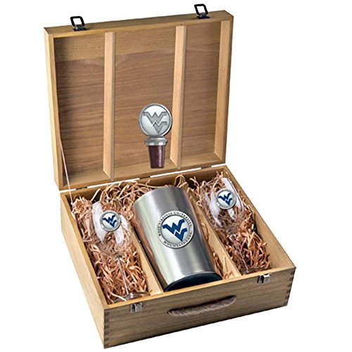 West Virginia Mountaineers Wine Glasses Gift Set with Wine Stopper and Chiller by Heritage Pewter