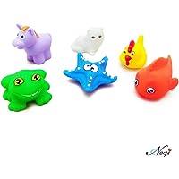 Negi 6 Piece Toddler Baby Bathtub Chu Chu Squeeze Bath Toys Non-Toxic BPA Free, Animal Shape (6 Piece Squeeze Bath Toys_2)