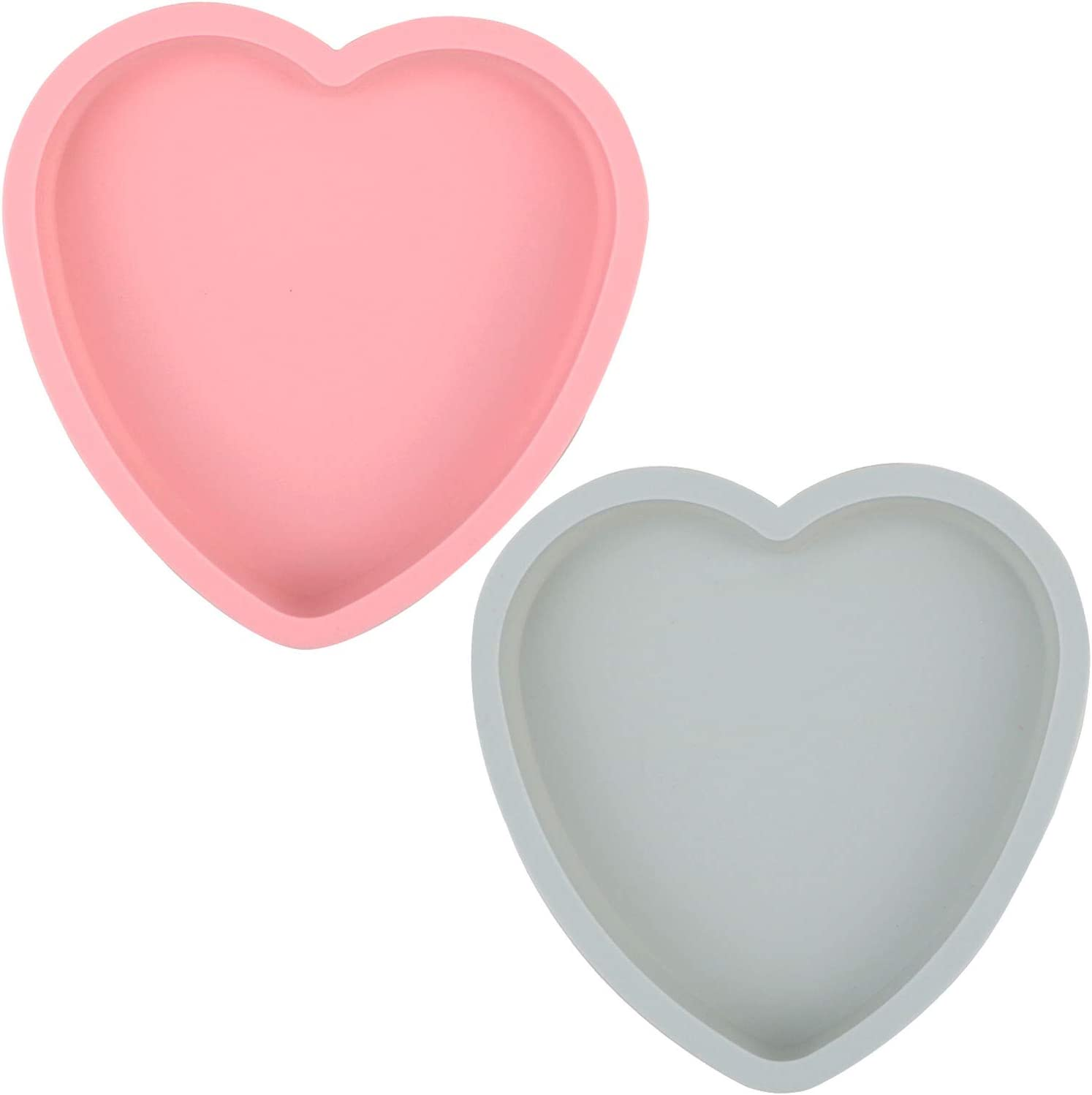 Goeielewe 2PCS Heart Shaped Cake Pan Silicone Cake Mold Baking Pans Non-Stick Cake Bakeware Mold, Chocolate Baking Tray Valentine's Gift - Pink&Blue-gray Colors (8 Inches)