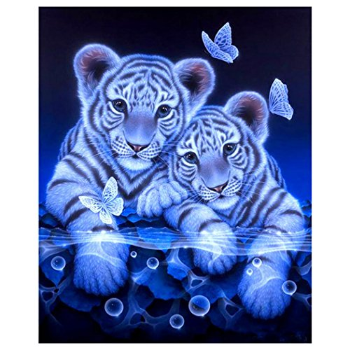 - DIY Diamond Painting Kit Inkach 5D Rhinestone Embroidery Cross Stitch Arts Craft Home White Tiger Pattern Decor (Multicolor)