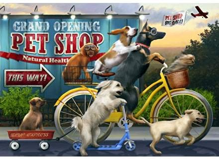 Wentworth Off To The Market 500 Piece Wooden Dogs Jigsaw Puzzle With Wood Whimsy Pieces
