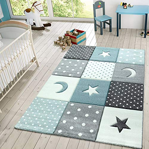 Children's Rug Pastel Colours Checked Dots Hearts Stars White Grey Blue, Size:160x230 cm (Rug Blue Star)
