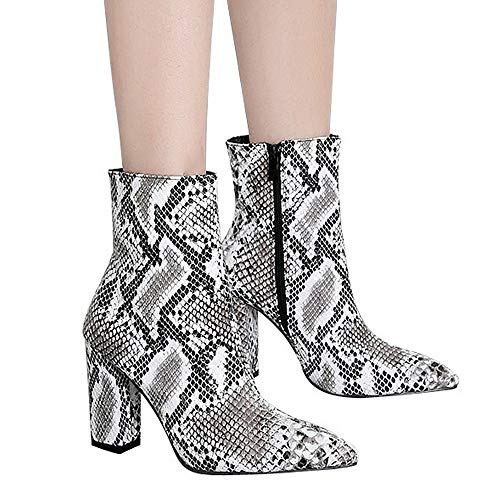 Hot Sale Shoes ! Pocciol Women Buckle Shoes Boots Snakeskin Pattern Thick Pointed Toe Zip Belt Booties (Snake_2, US:8)