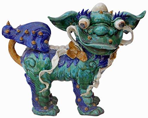 Chinese Shiwan Ceramic Green Glazed FengShui Foo Dog Figure Acs2168