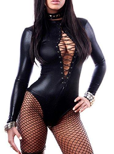 Sorrica Womens Leather Bodysuit Lingerie