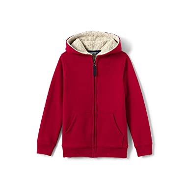 Amazon Com Lands End Boys Sherpa Lined Hoodie L Rich Red Clothing