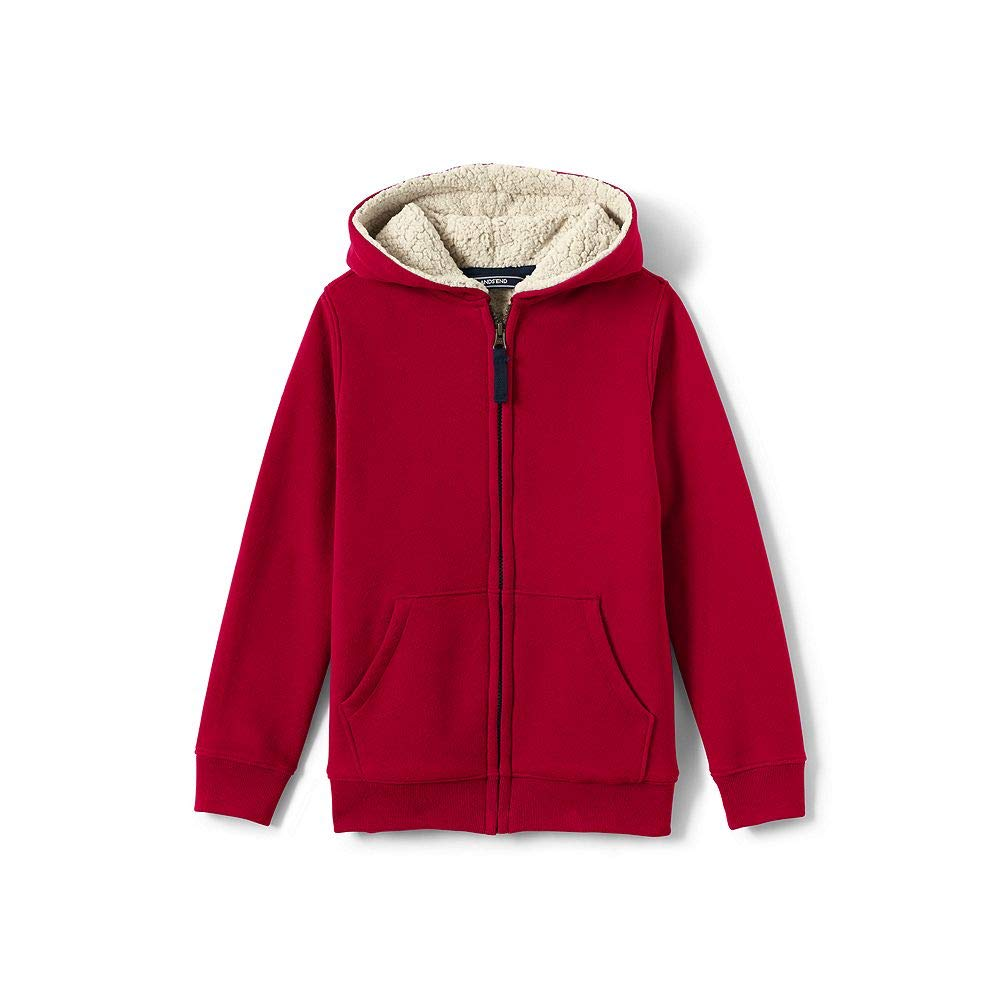 Lands' End Boys Sherpa Lined Hoodie, XL, Rich Red