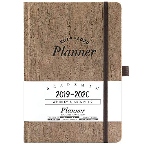 2019-2020 Academic Planner - Weekly & Monthly Planner with Tabs + Cork Smooth Leather with Pen Holder and Thick Paper, 5.75