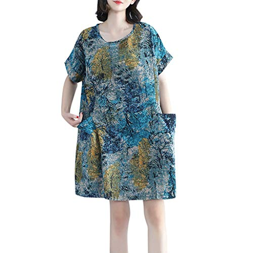 Susun Summer Popular Style Unique Women Skirt Short Sleeve Cotton Linen Loose Flower Printed Plus Size Summer Dress Blue