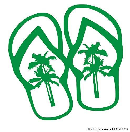UR Impressions KGrn Palm Tree Flip Flops Sandals Decal Vinyl Sticker Graphics for Cars Trucks SUV Vans Walls Windows Laptop|Kelly Green|5.5 Inch|URI500-KG