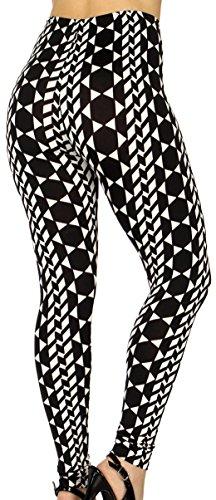 ce High Weist Pattern Printed Nylon Stretch Leggings (Black Metric Star) (Nylon Stretch Leggings)