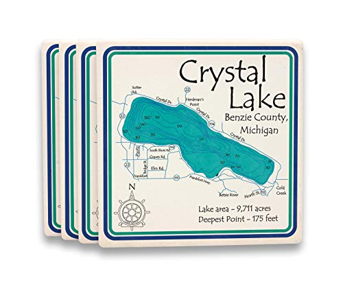Ceramic Taylor Coasters - Mondeaux Flowage in TAYLOR, WI (1880 LA) - Square Coasters 4.25 x 4.25 IN Set of 8 - Nautical chart and topographic depth map.