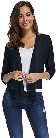 Dizzlle Women's Casual Sheer Chiffon Drape Front Shrug 3/4 Sleeve Cropped Bolero Cardigan