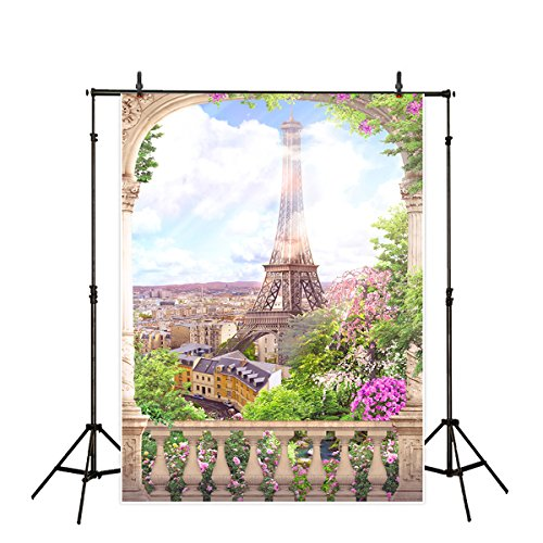 (Funnytree 6.5x10ft Digital Photography Backdrops Backgrounds Eiffel Tower Balcony Court Sunny Flowers for Wedding Photo Studio Backdrop (Upgrade Material))
