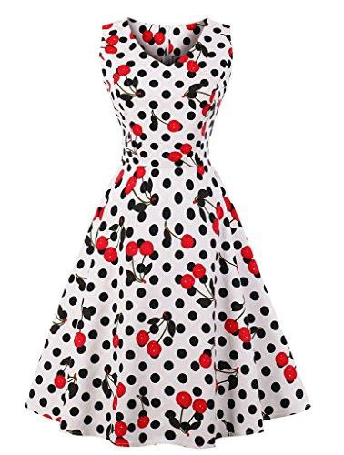 VERNASSA 1950s Vestidos para Mujer, 50s Vestido Retro con Estilo del Oscilación de la Tarde de la Vendimia del Baile de Fin de Curso del Club del Coctel del Algodón del Estilo de Hepburn 1620-puntos de Cereza