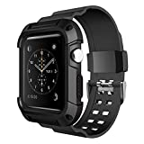 Simpeak Rugged Protective Case with Strap Bands for Apple Watch 42mm Series 1 Series 2,Sport, Edition, Black
