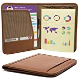 Muiska Leather Interview Resume Folder Portfolio Letter Size Writing Pad folio Holder Cover with Business Card Slot, Saddle