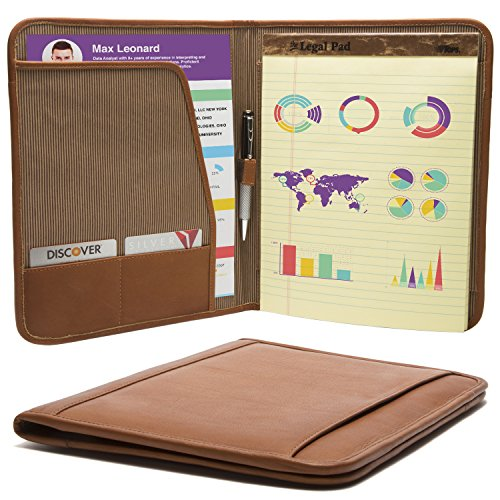 Luggage Depot USA, LLC Muiska 8.5 X 11 inch Leather Travel Business Writing Padfolio, Saddle by Muiska (Image #2)