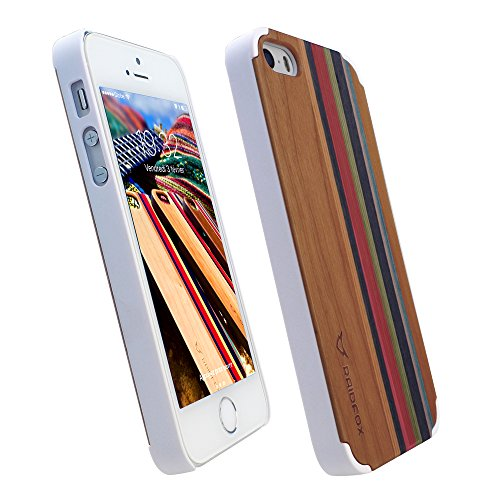 Raidfox iPhone SE/5S/5 Natural Wood Hard Case - Eco-friendly FSC Forest Handmade Natural Wooden Cover - Hybrid Heavy Duty Woodback Protector Faceplate Nature Bond (Rainbow (Wood Phone Faceplates)