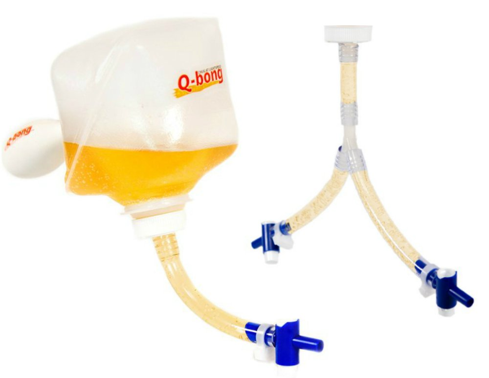 Q-bong Beer Bong Combo - World's First Pressurized Beer Bong Funnel with easy to use single and double valve - compact & explosive - Ideal for college drinking games, bachelor parties and gag gifts