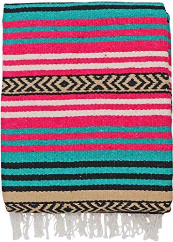 El Paso Designs Peyote Hippie Blanket Classic Mexican Style Falsa Stripe Pattern in Vivid Peyote Colors. Throw, Bed, Tapestry, or Yoga Blanket. Hand Woven Acrylic, 57'' x 74'' (Peyote 3) by El Paso Designs