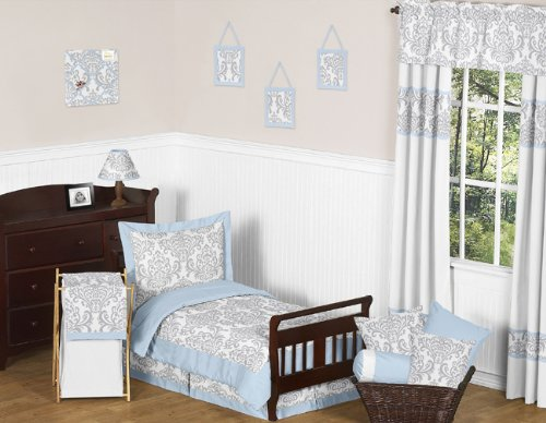 Blue, Gray and White Damask Print Avery Bed Skirt for Girl or Boy Toddler Bedding Sets