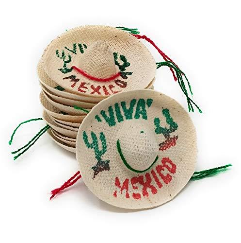 Mini Mexican Sombrero Hats 12 Pack - Mexican Fiesta Decorations - Cinco de Mayo Tabletop Party Supplies