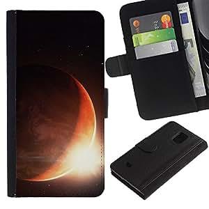 LASTONE PHONE CASE / Lujo Billetera de Cuero Caso del tirón Titular de la tarjeta Flip Carcasa Funda para Samsung Galaxy S5 Mini, SM-G800, NOT S5 REGULAR! / Sun Planet Eclipse Rise Red Planet Earth Space
