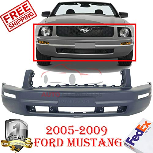 New Front Bumper Cover Replacement for 2005-2009 Ford Mustang Base Without License Plate Provision & Tow Hook Hole with Turn Signal Light Holes & Pony Package Primed Plastic OE Replacement FO1000574