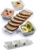 4 Piece Sectional Serving Platter with Serving Tong, Durable White Ceramic Bowls with Serving Tray for Appetizers, Salad Bar, Chips, Dips, Condiments and Desserts