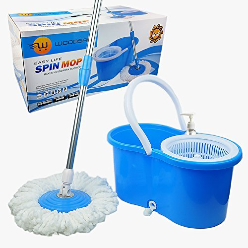 Woodsam Magic Spin Mop - Easy Press Mop Bucket Set - 360° Rotation Push & Pull - Liquid Drain Hole - Easy Wring with Reusable Mop Heads - Non Pedal