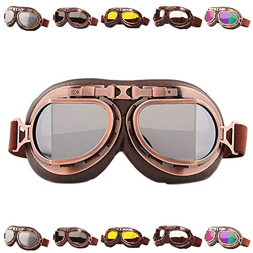 Peicees Vintage Helmet Goggles Motrocycle Scooter Cycle Mountain Bike Motorcross Cycling Goggles Retro Aviator Pilot Goggles Off-Road Glasses Eyewear(Silver Lens)