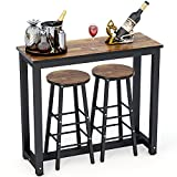 Cheap Bar Stools Set of 3 Tribesigns 3-Piece Pub Table Set, Counter Height Dining Table Set with 2 Bar Stools for Kitchen, Breakfast Nook, Dining Room, Living Room, Small Space
