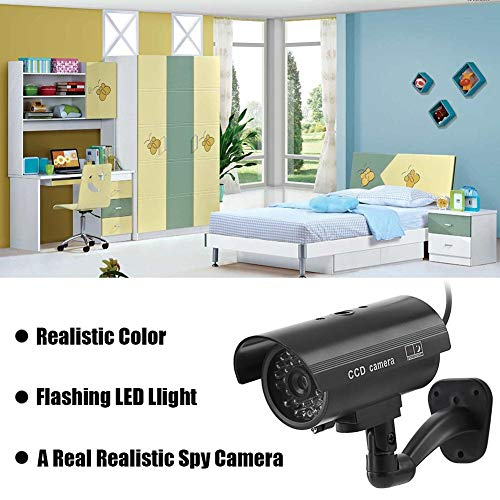 Bewinner Bullet Dummy Fake Surveillance Camera, False Bullet Camera with Combination of 19 Fake LEDs and 1 Flashing LED, Waterproof Emulation Camera,Installed in House, Shopping Mall, Restaurant