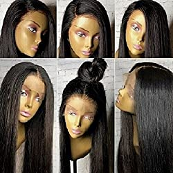 "360 Lace Wig Pre Plucked 150%-180% Density Brazilian Virgin Human Hair Wigs 360 Wigs for High Ponytail Updo Small Cap 18"" Light Yaki Straight Hair"