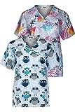 MedPro Women's Printed Mock Wrap Medical Scrub Top Multi Pack Navy Gray S