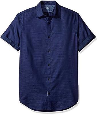 Calvin Klein Jeans Men's Short Sleeve Dot Dobby Button Down Shirt