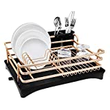 Aluminum Dish Drying Rack,HabiLife Never Rust Sink Dish Drying Rack with Utensil Holder, Removable Plastic Drainer Tray with Adjustable Swivel Spout