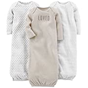 Simple Joys by Carter's Baby 3-Pack Cotton Sleeper Gown, Grey/White, 0-3 Months