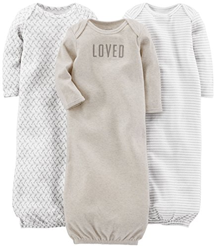Simple Joys by Carter's Baby 3-Pack Neutral Cotton Sleeper Gown, Grey/White, Newborn