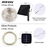 Solar String Lights (72 ft, Waterproof, 8 Modes), Ankway Bendable Copper Wire High Efficiency 200 LED Durable Fairy Outdoor String Lights for Garden, Patio, Wedding and Christmas Party(Warm White)