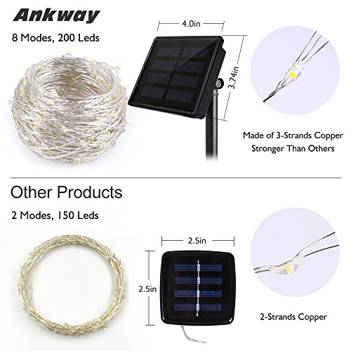 Solar String Lights, Ankway 200 LED Solar Fairy Lights 3-Strand 8 Modes 72 ft Waterproof IP65 Solar Powered String Lights Outdoor for Home Window Bedroom Patio Garden Indoor Warm White by Ankway (Image #1)