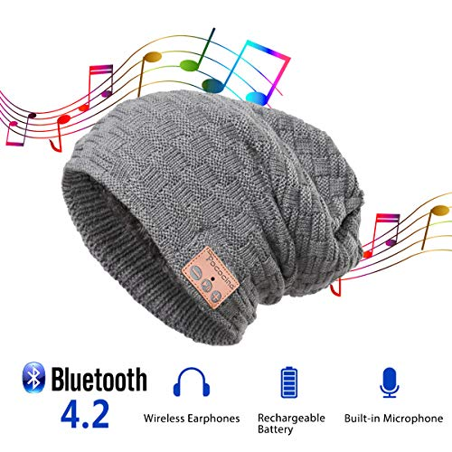 Pococina Upgraded 4.2 Bluetooth Beanie Music Hat Winter Knit Hat Cap Wireless Headphone Musical Speaker Beanie Hat as Christmas Birthday Gifts for Men Women Teen Girls Boys, Built-in Mic - 028 Gray