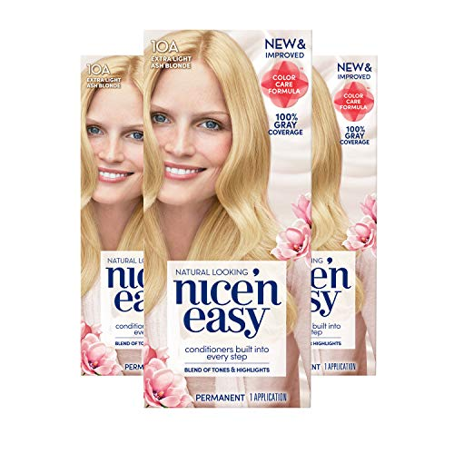 (Clairol Nice 'n Easy Permanent Hair Color, 10A Extra Light Ash Blonde, 3 Count)