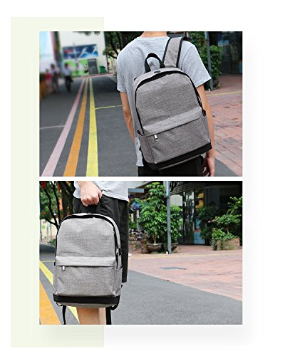 Backpack, Travel Water Resistant School Backpack with USB Charging Port for Women Men, Canvas College Student Bag Bookbag Fits 15.6 Inch Laptop and Notebook, Grey Rucksack Daypack for Outdoor Camping by Vancropak (Image #7)