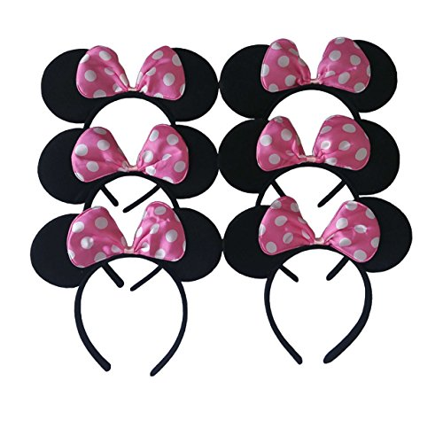 [Mickey Mouse Ears Solid Black&Colorful Bows Minnie Headbands for Boys&Girls Birthday Party or Celebrations(Pack of 6) (Pink Bows White] (Donald Duck Costumes For Adults)