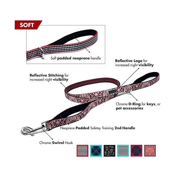 Buju Citizen K9 Dog Leash – 6ft Strong Training Pet Leashes – Pink Flowers – Padded 2 Handles for Large Medium & Small… Click on image for further info. 2
